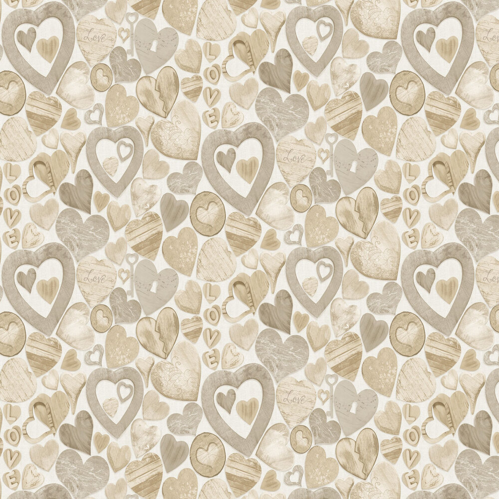 Albany Wooden Hearts Brown Wallpaper - Product code: 102570