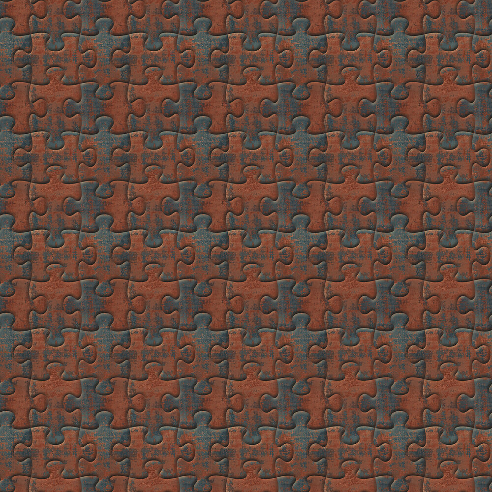 Industrial Jigsaw Wallpaper - Rust - by Albany