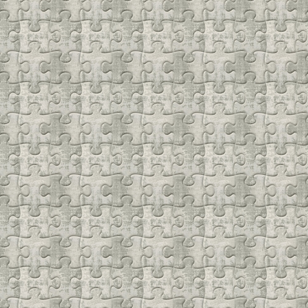 Industrial Jigsaw Wallpaper - Aluminium - by Albany
