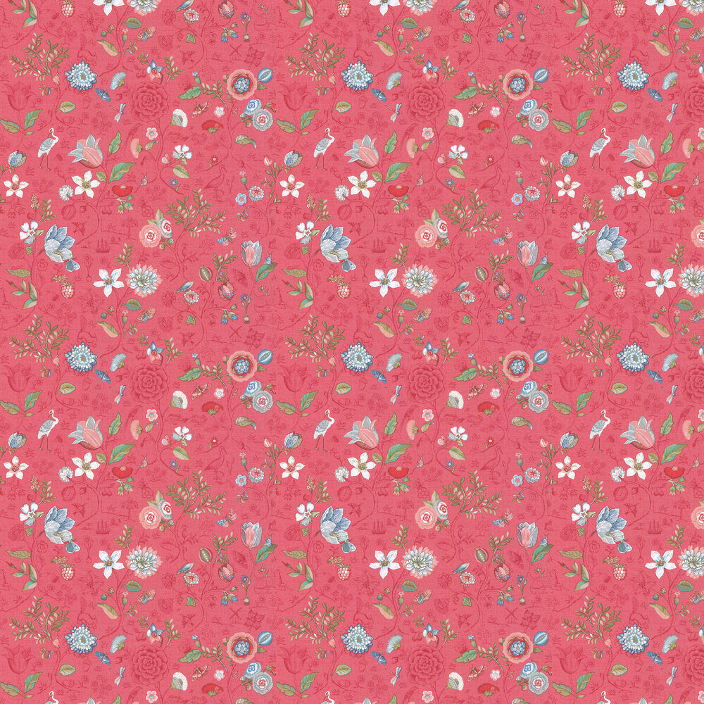 Spring to Life Wallpaper - Red / Pink - by Eijffinger