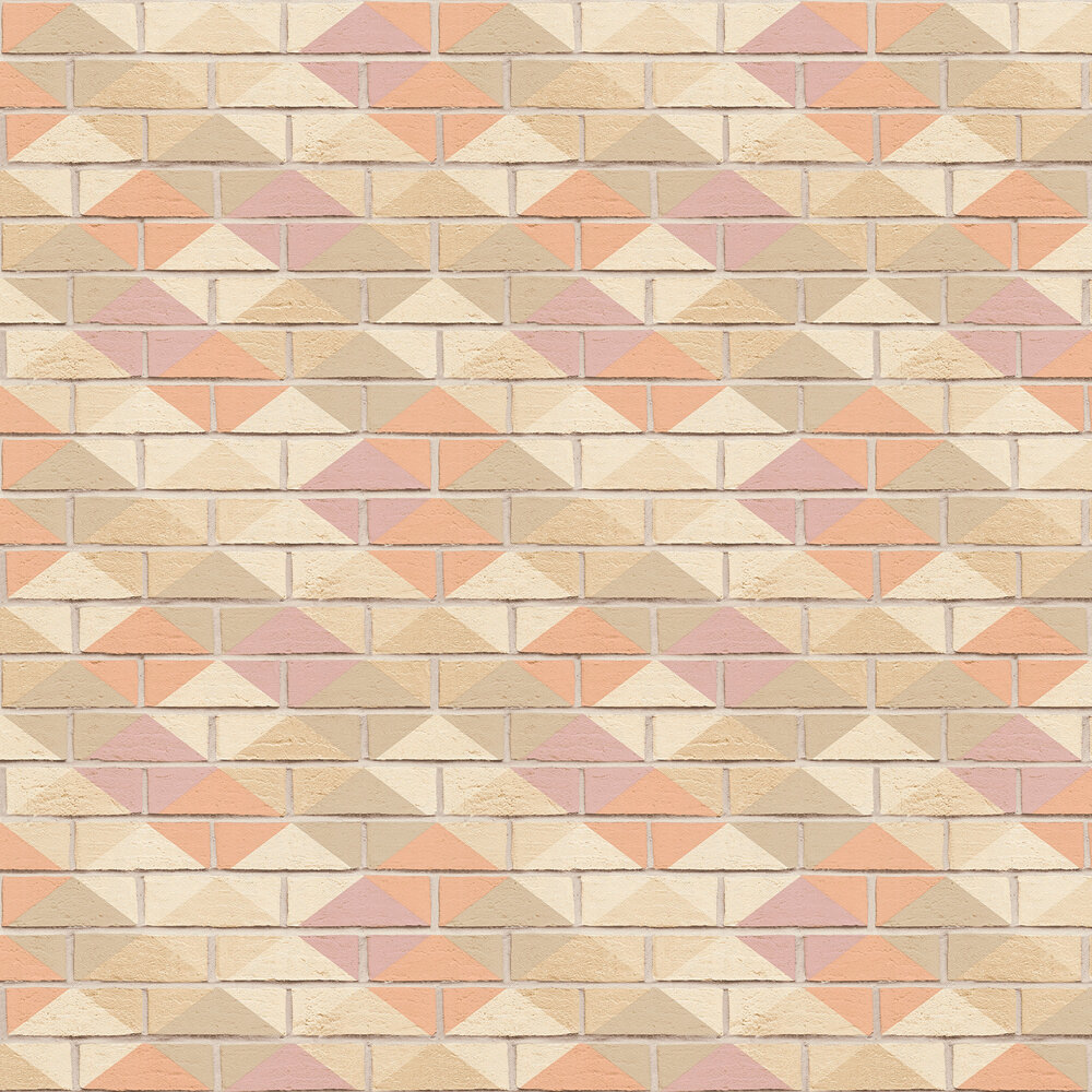 Harlequin Brick Wallpaper - Pink, Peach and Taupe - by Albany