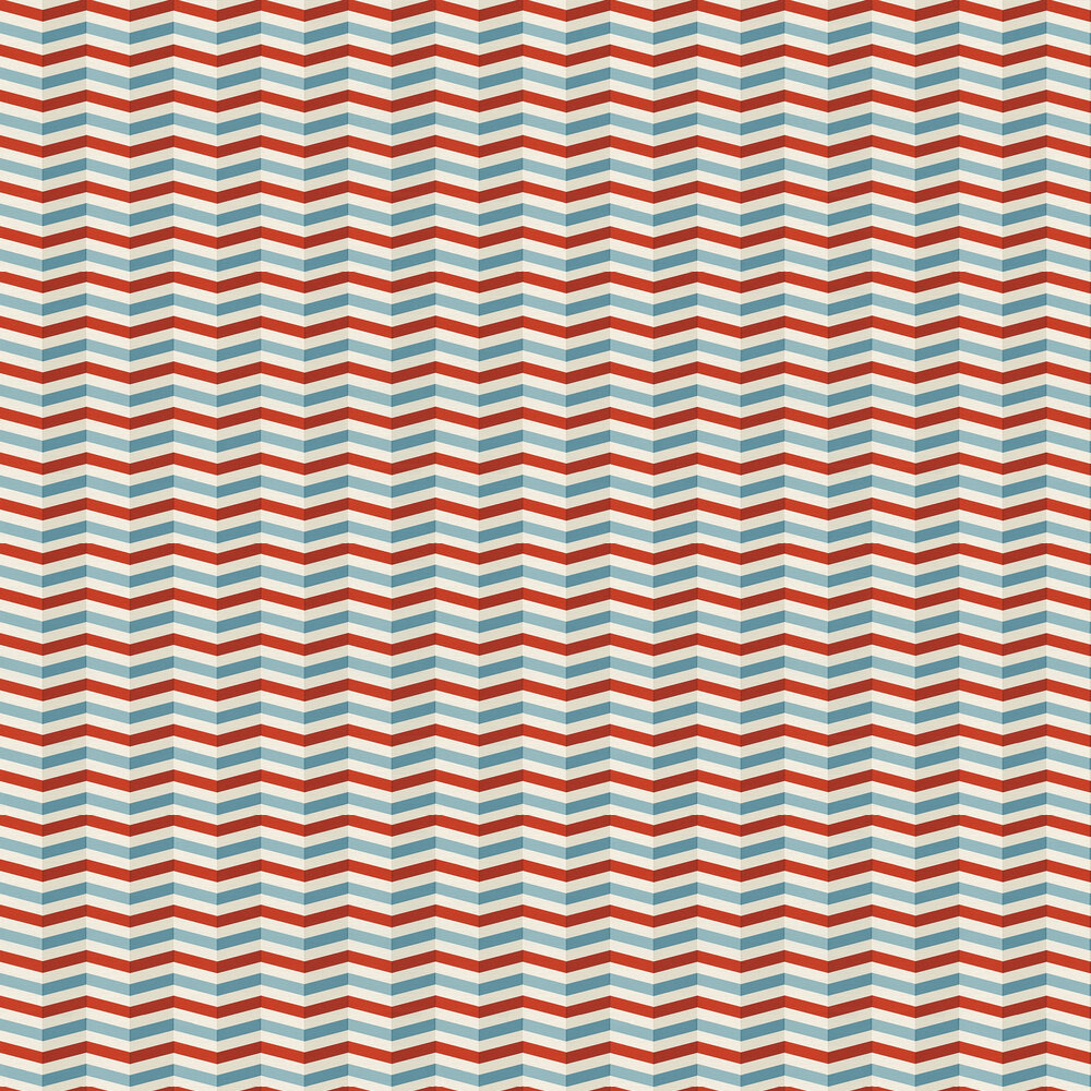 Zigzag Wallpaper - Blue and Red - by Albany