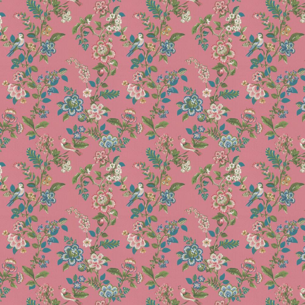 Botanical Print Wallpaper - Dark Pink - by Eijffinger