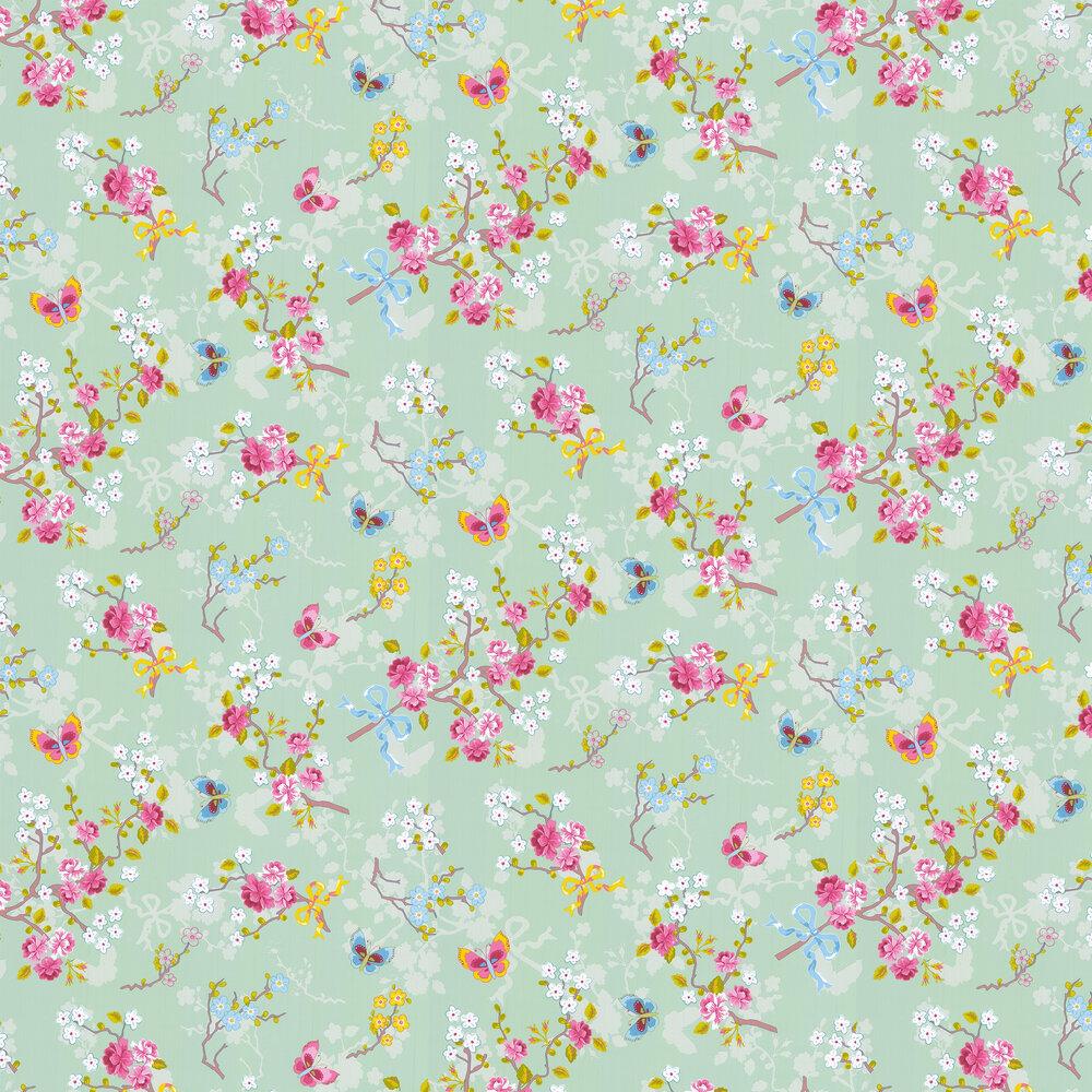 Chinese Rose Wallpaper - Aqua Green - by Eijffinger