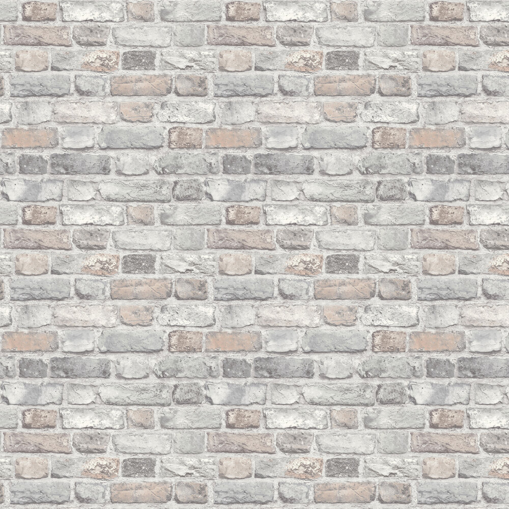 Vintage Brick Wallpaper - Pale Pink Brick - by Albany