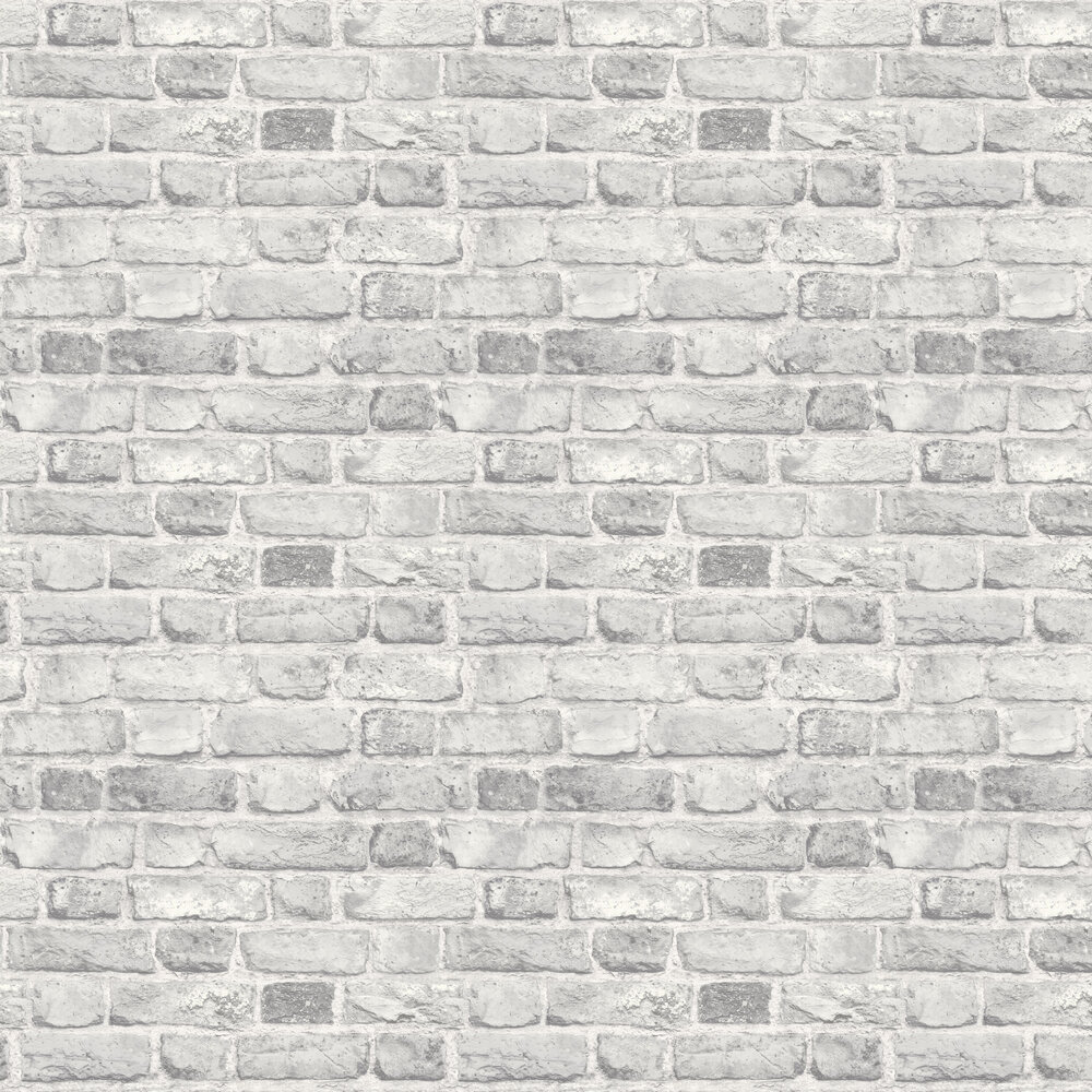 Vintage Brick Wallpaper - White - by Albany