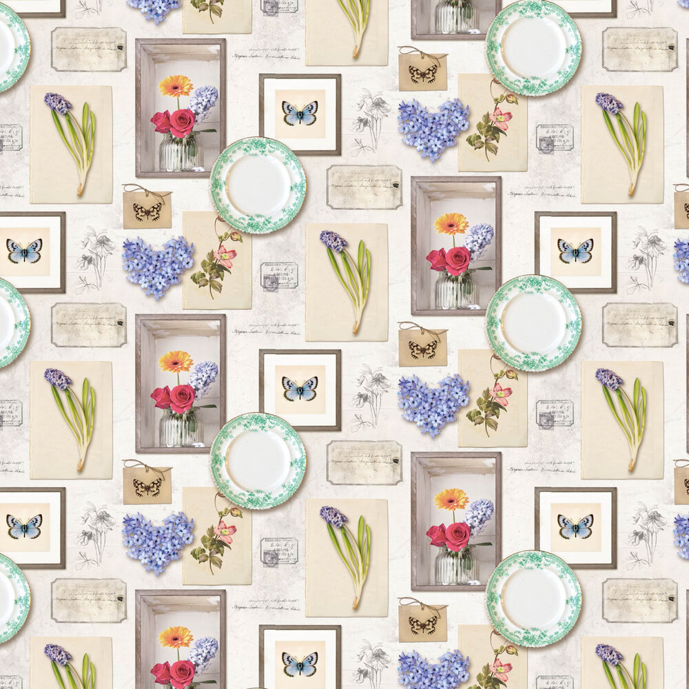 Floral Frame Wallpaper - Cream and Multi - by Albany