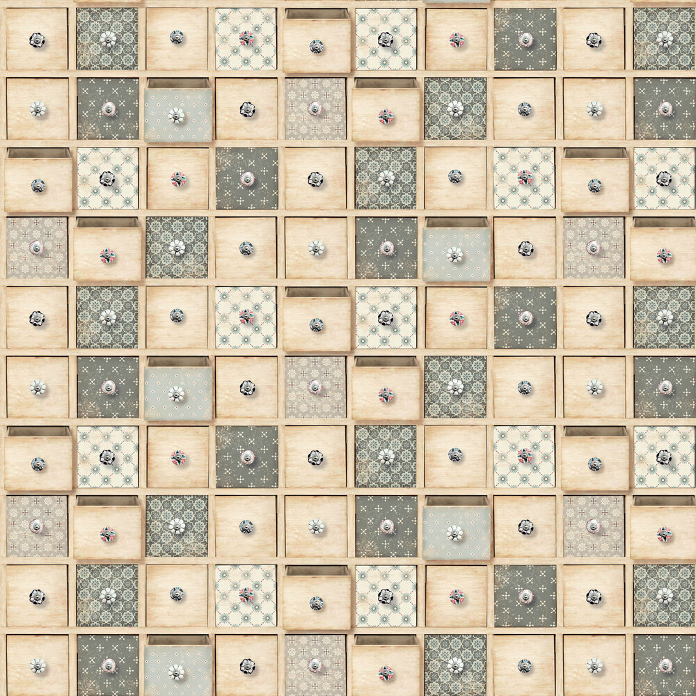 Trinket Boxes Wallpaper - Natural - by Albany
