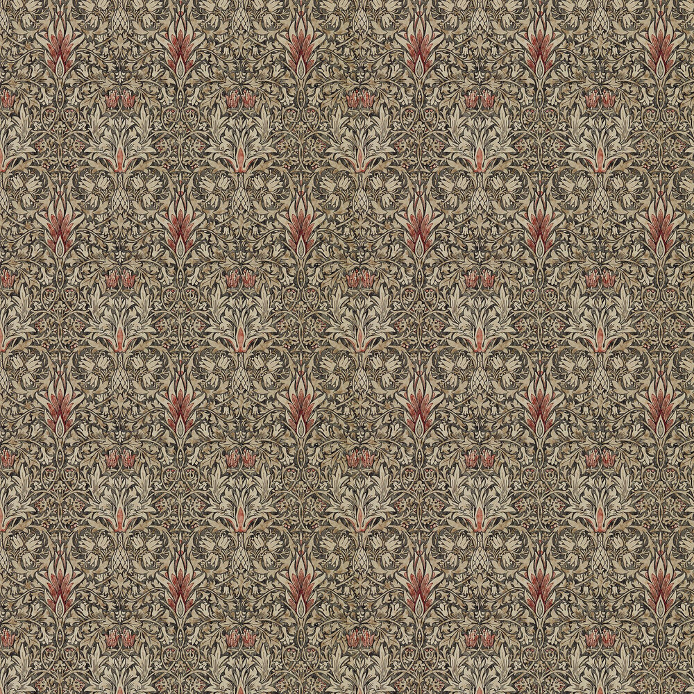 Snakeshead Wallpaper - Charcoal / Spice - by Morris