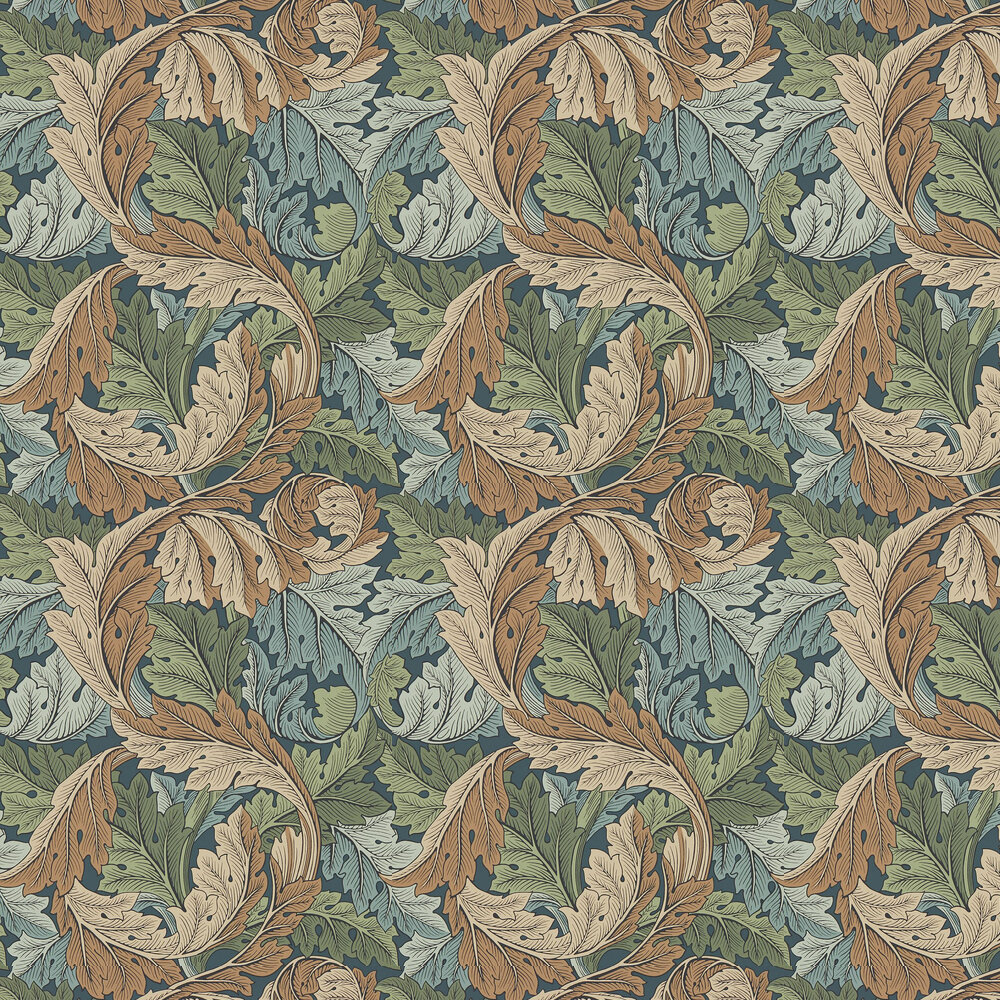 Acanthus Wallpaper - Slate / Thyme - by Morris