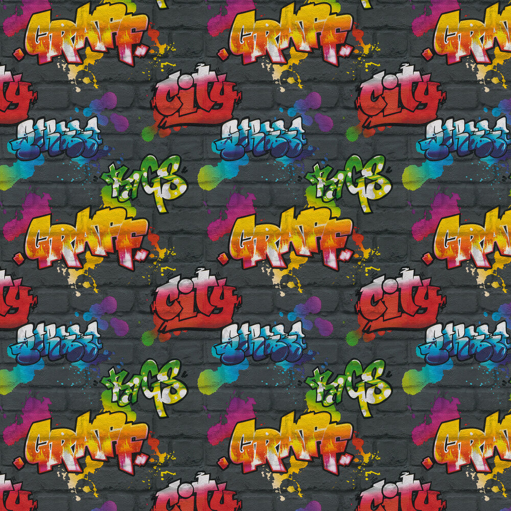 Urban wall Wallpaper - Black and Multi - by Albany