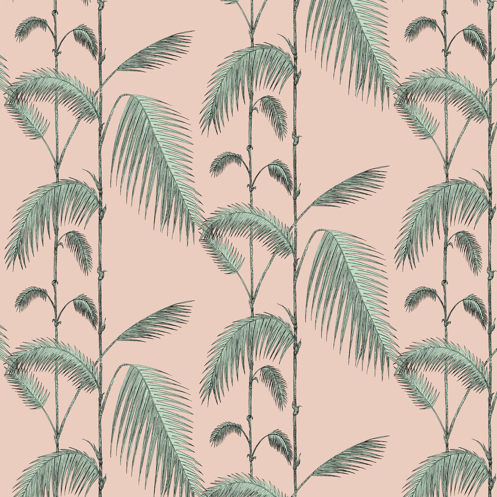 Palm Leaves By Cole Son Alabaster Pink And Mint Wallpaper