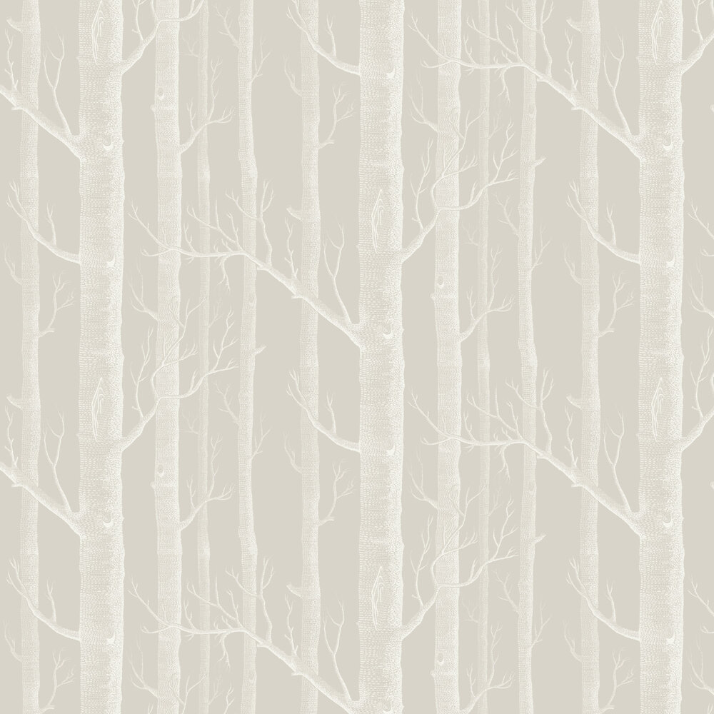 Woods Wallpaper - Stone and White - by Cole & Son