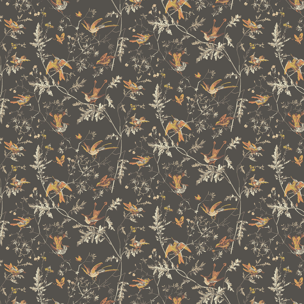 Hummingbirds Wallpaper - Charcoal and Ginger - by Cole & Son