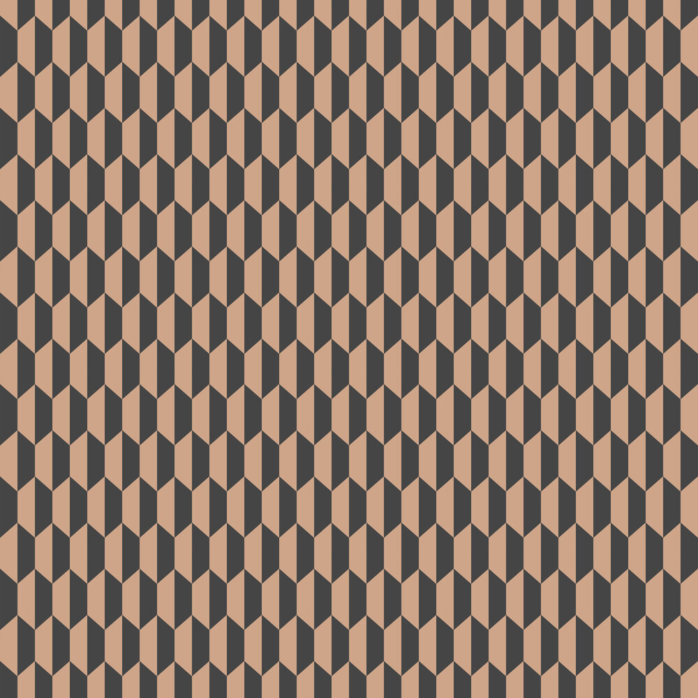 Petite Tile Wallpaper - Charcoal and Bronze - by Cole & Son