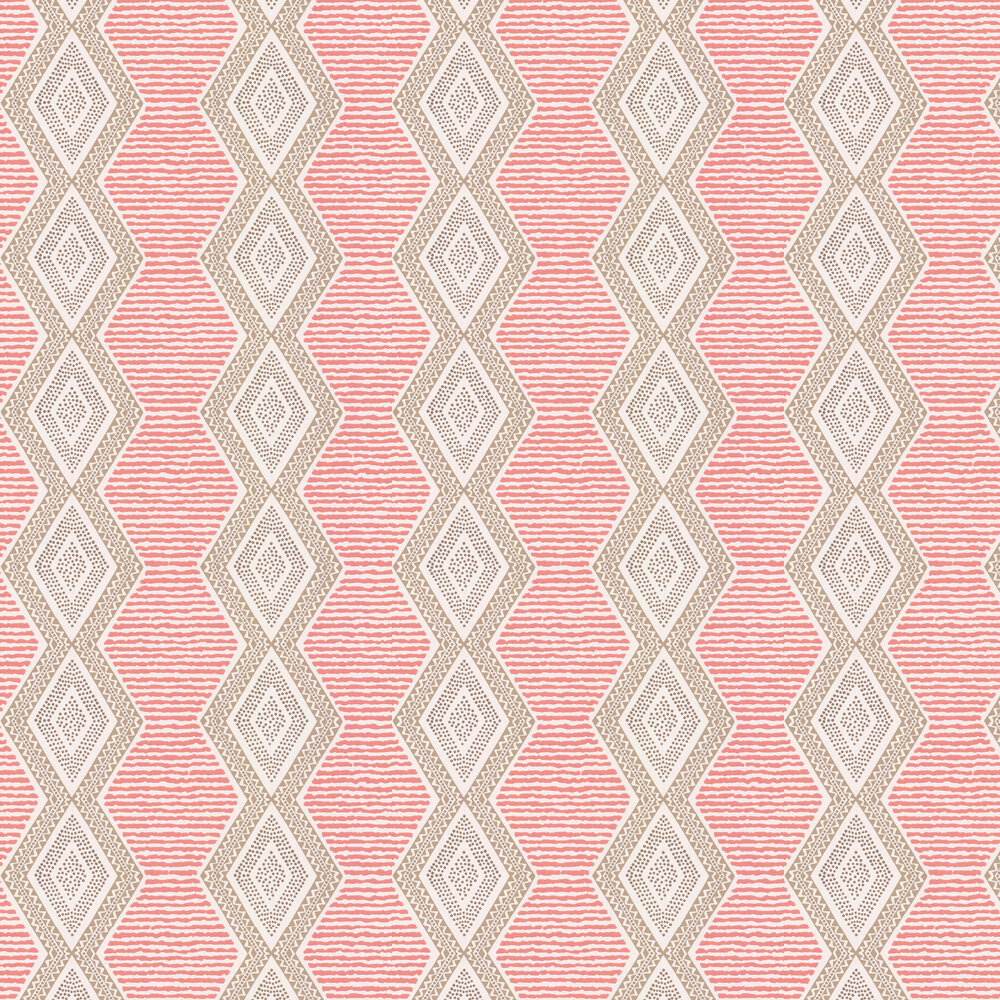 Nina Campbell Belle Ile Coral / Beige Wallpaper - Product code: NCW4306/01