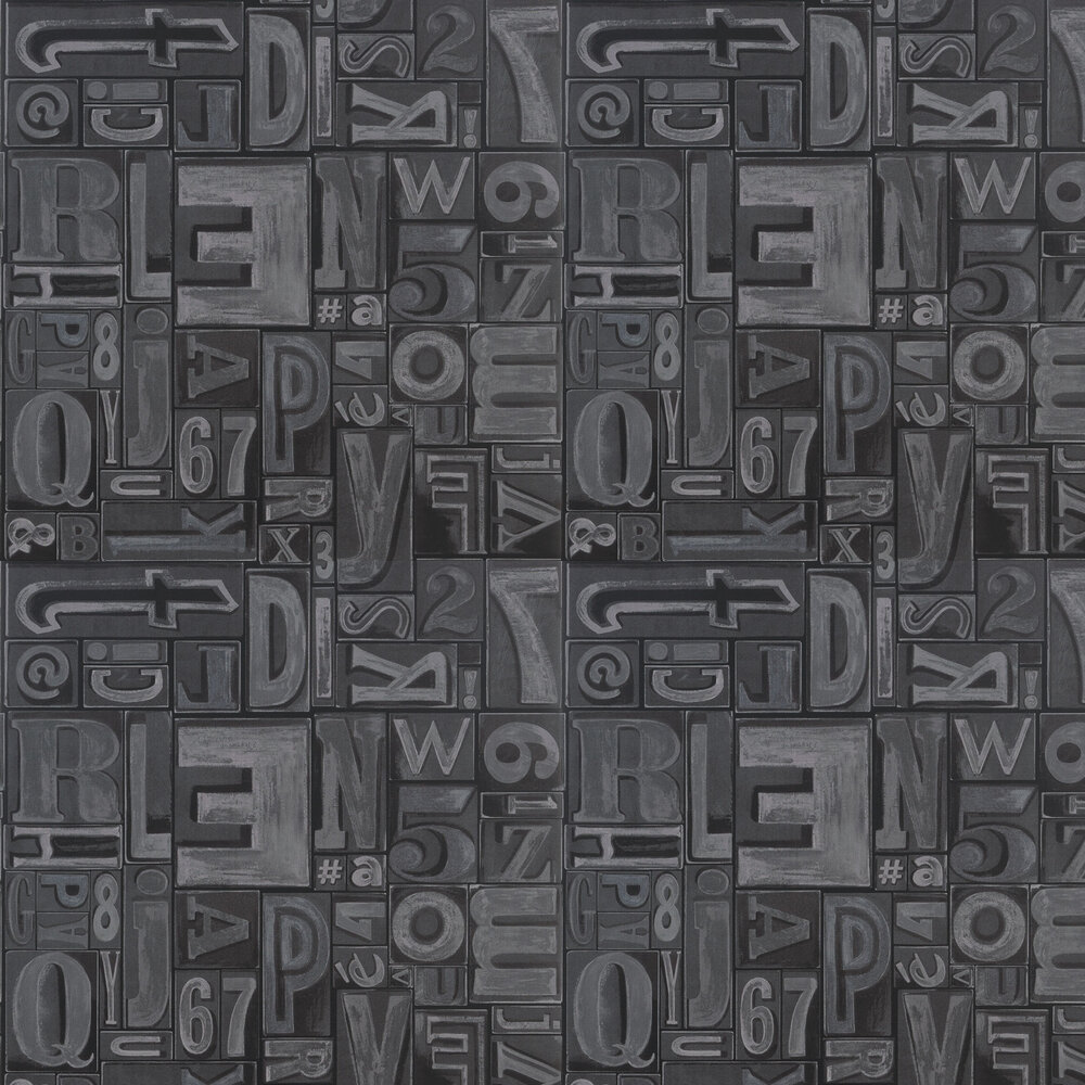 Ralph Lauren Copeley Letterpress Black Wallpaper - Product code: PRL5007/02