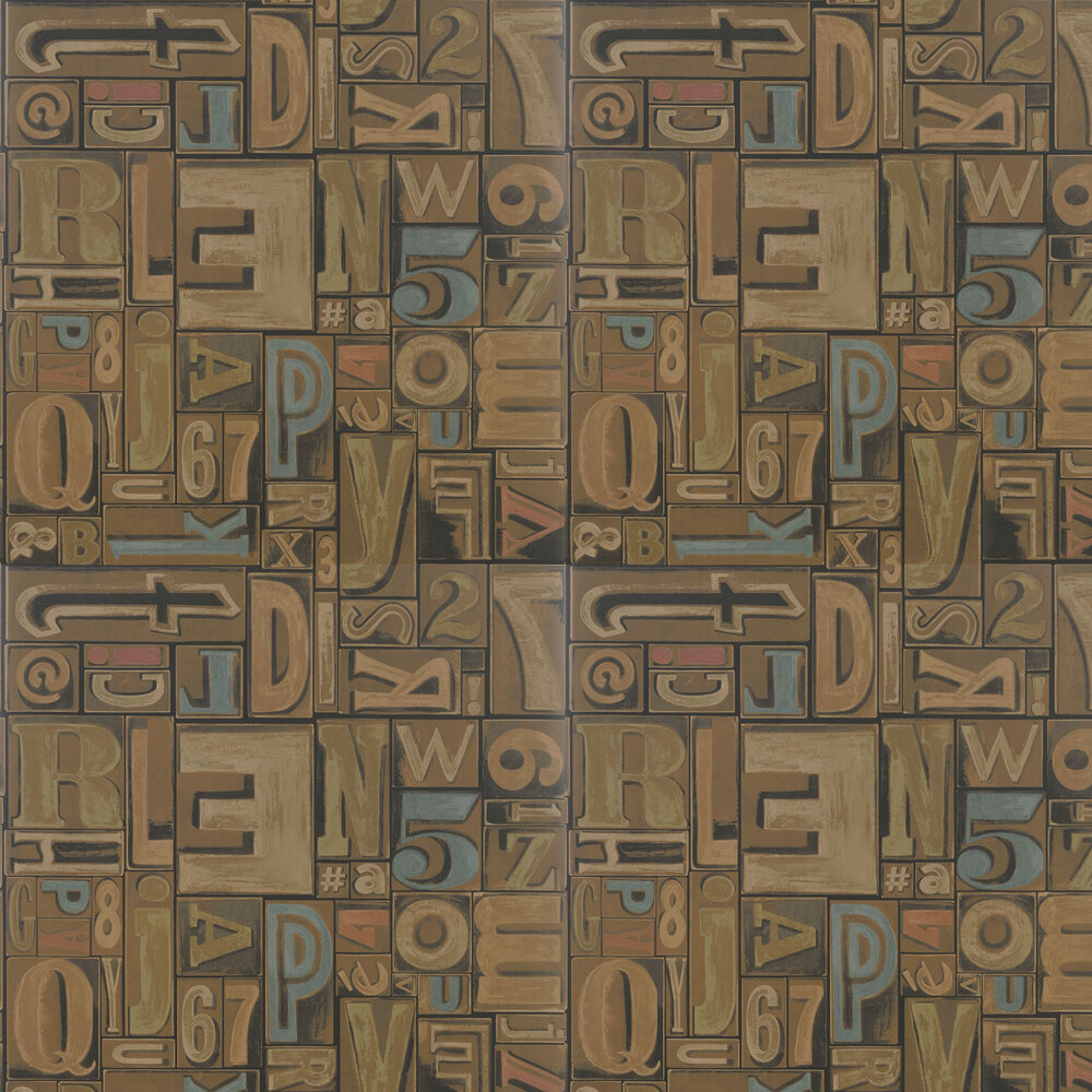 Copeley Letterpress Wallpaper - Fruitwood - by Ralph Lauren