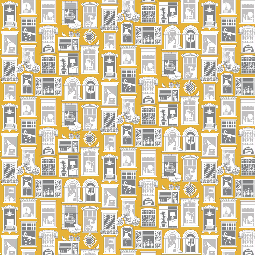 One Day Wallpaper - Mustard - by Mini Moderns