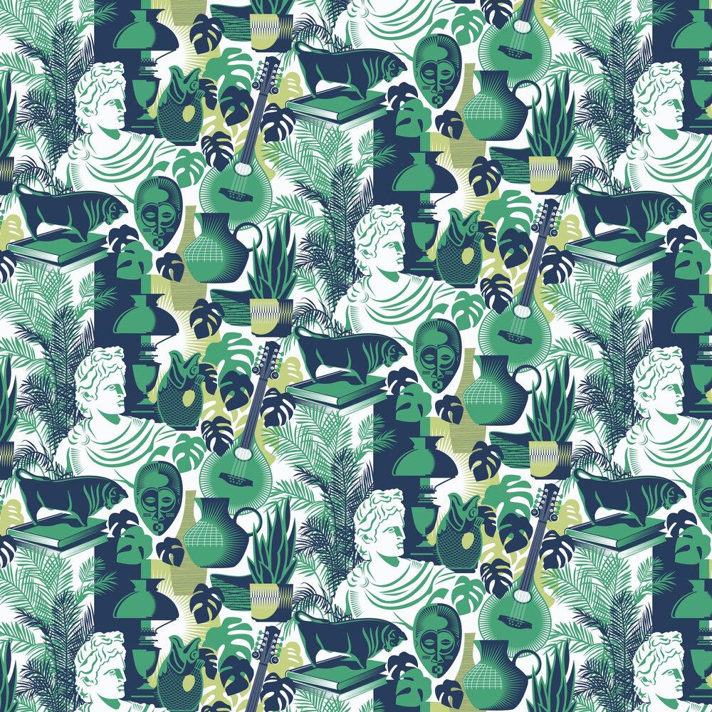 Art Room Wallpaper - Coach Emerald - by Mini Moderns