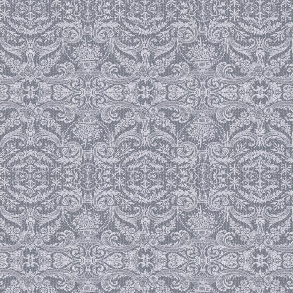 Orangery Lace Wallpaper - Dove Grey - by Matthew Williamson