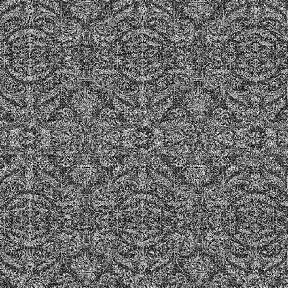 Orangery Lace Wallpaper - Black and Metallic Silver - by Matthew Williamson