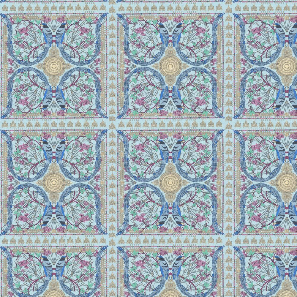 Lyrebird Wallpaper - Aqua - by Matthew Williamson