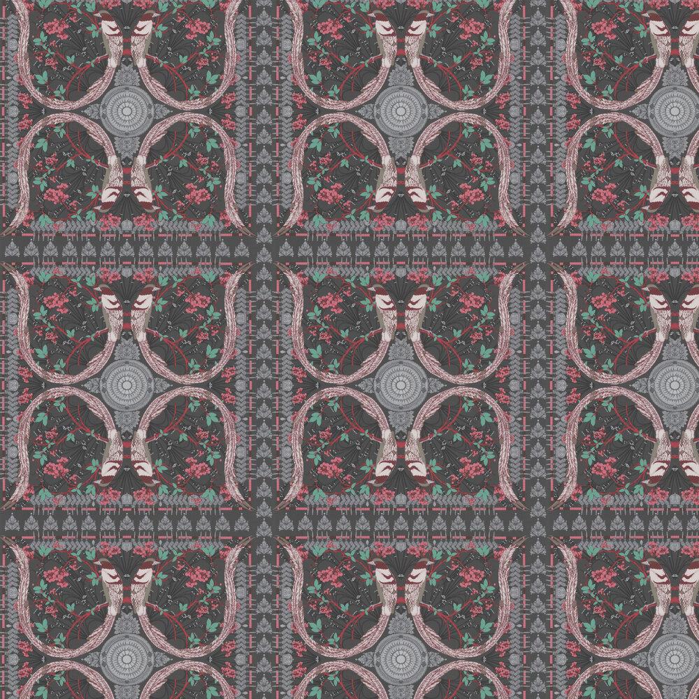 Lyrebird Wallpaper - Black - by Matthew Williamson