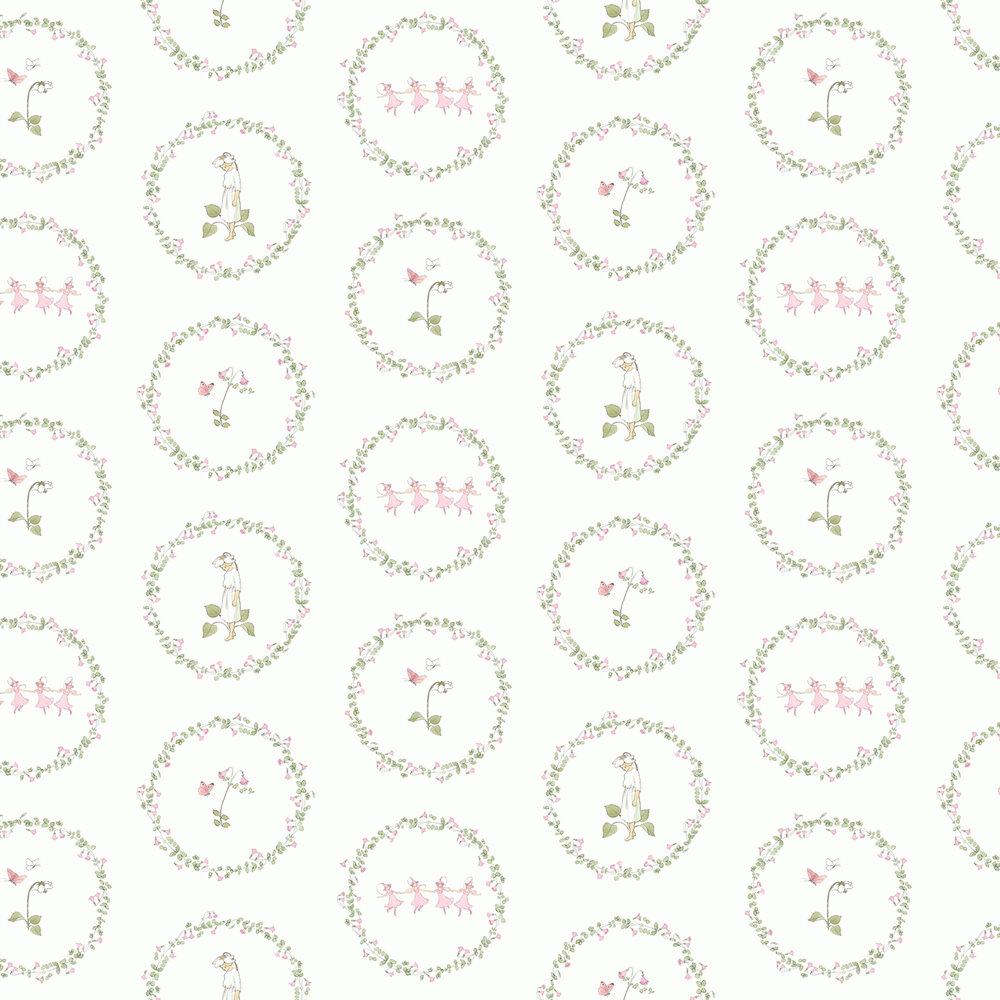 Pyrola Wallpaper - White/ Pink/ Green - by Boråstapeter