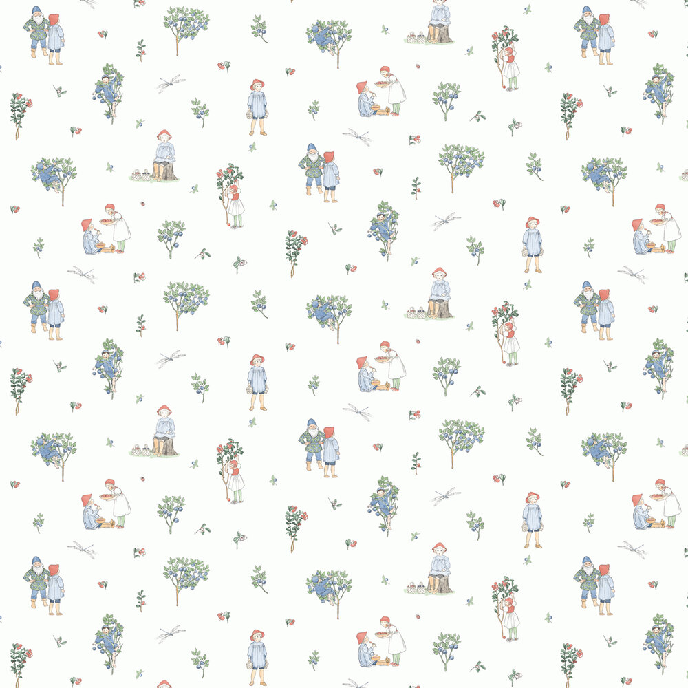 Putte Wallpaper - Lingonberry and Blueberry - by Boråstapeter