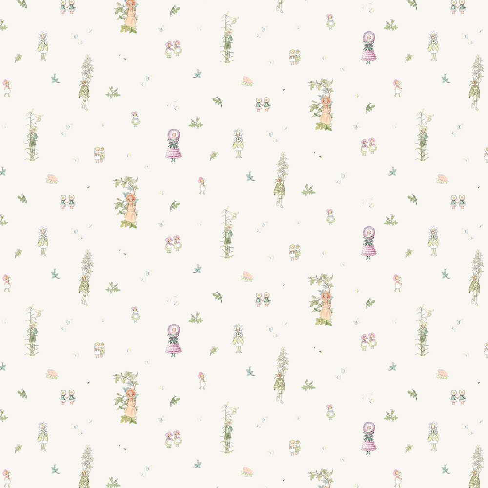 Blomsterfesten Wallpaper - White - by Boråstapeter