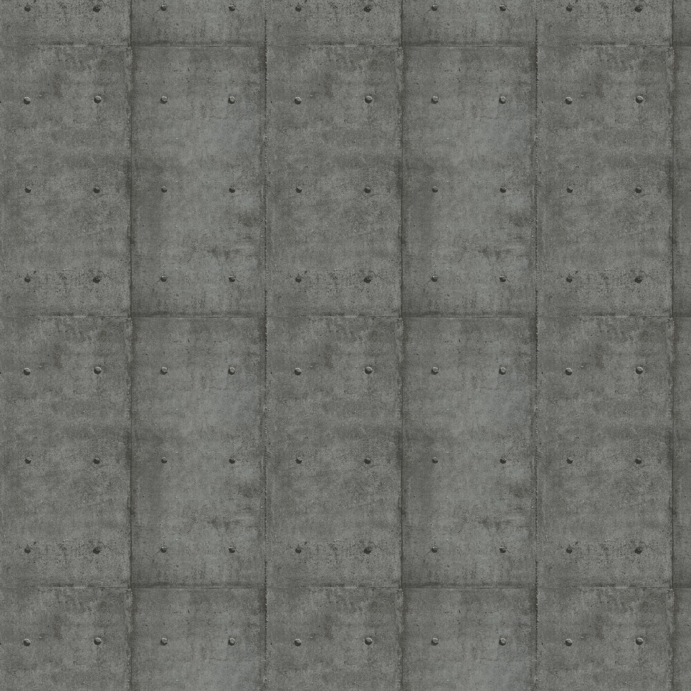 Metal Plate Wallpaper - Pewter - by Wemyss