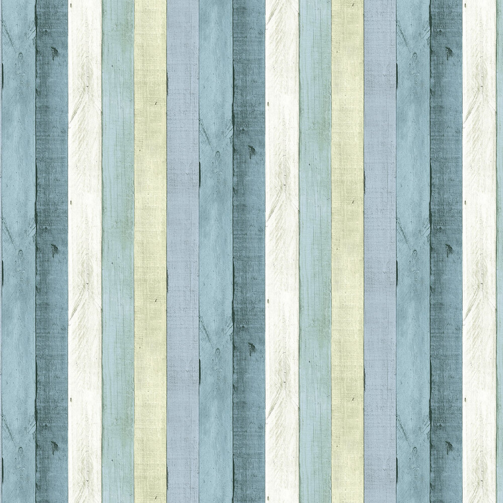 Wooden Panel Wallpaper - Turquoise - by Wemyss