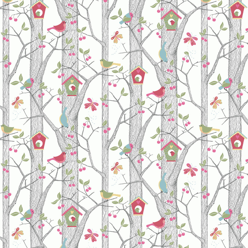 Cherry Friends Wallpaper - Pink Berry - by Boråstapeter
