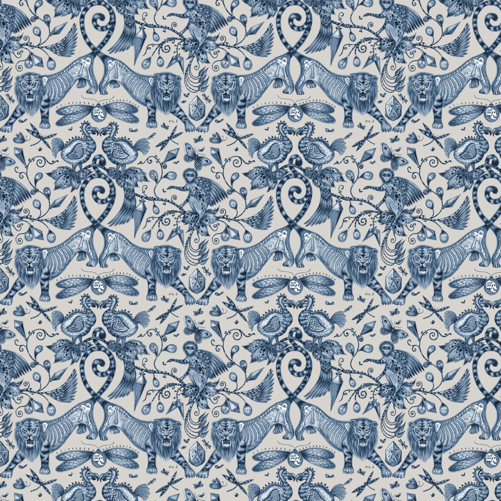Emma J Shipley Extinct Blue Wallpaper - Product code: W0100/01