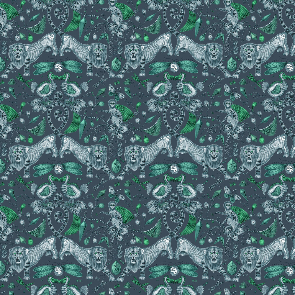 Extinct Wallpaper - Navy - by Emma J Shipley