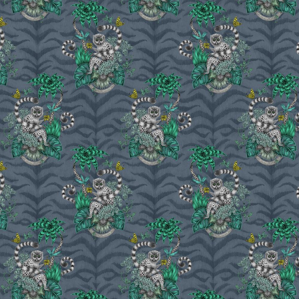 Lemur Wallpaper - Navy - by Emma J Shipley