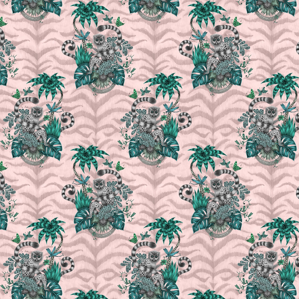 Lemur Wallpaper - Pink - by Emma J Shipley