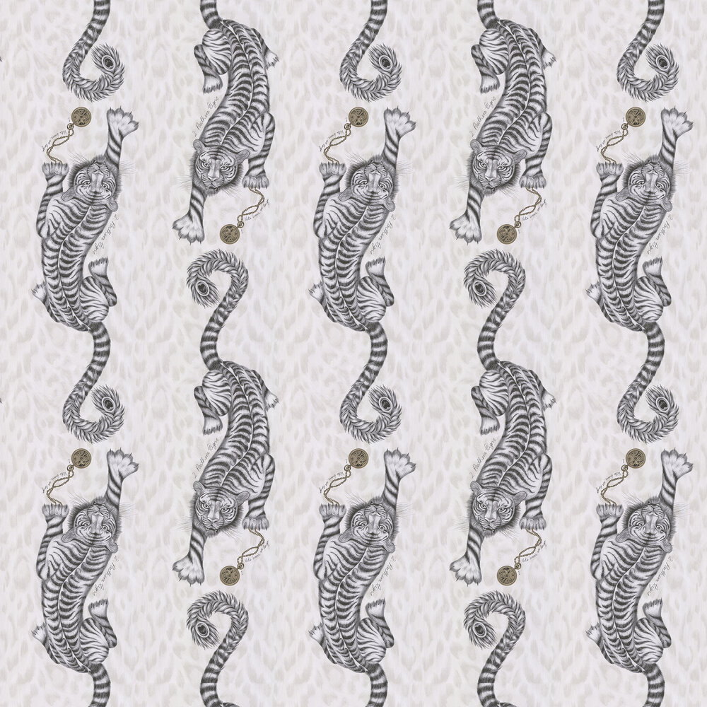 Tigris Wallpaper - Monochrome - by Emma J Shipley