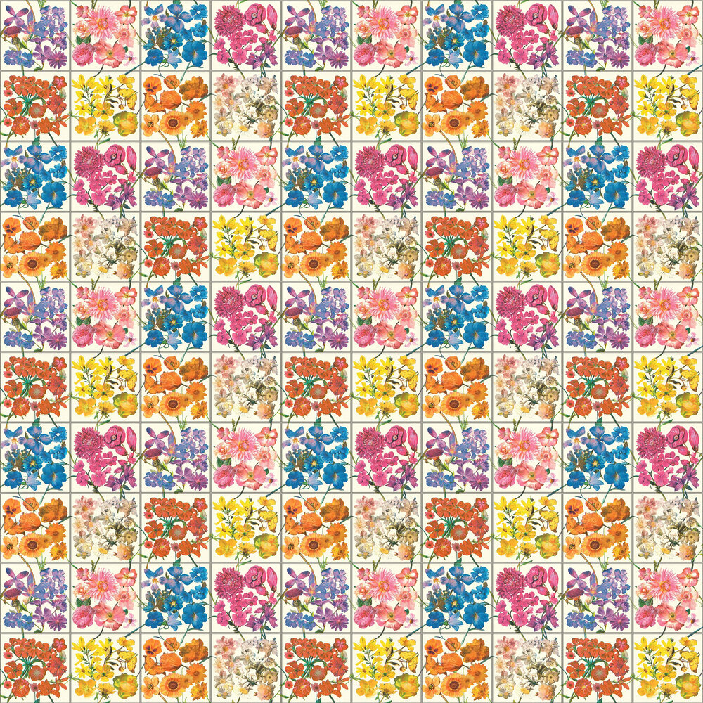 Floral Tile Wallpaper - Multi / White - by Albany