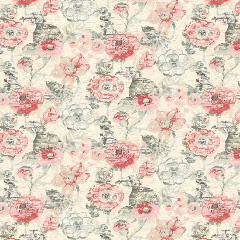 Floral Dream Wallpaper - Green / Pink - by Albany