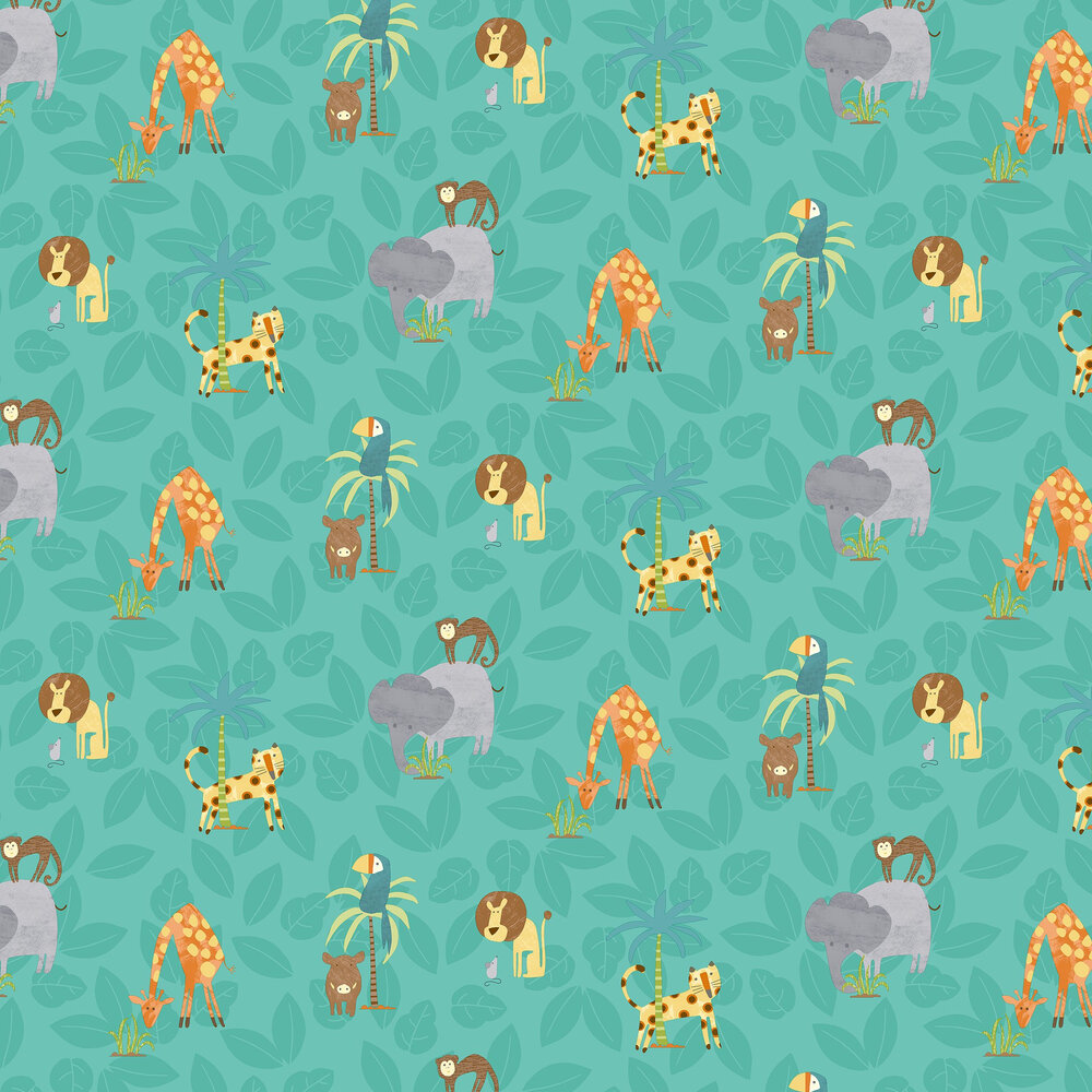 Jungle Friends Wallpaper - Teal - by Albany