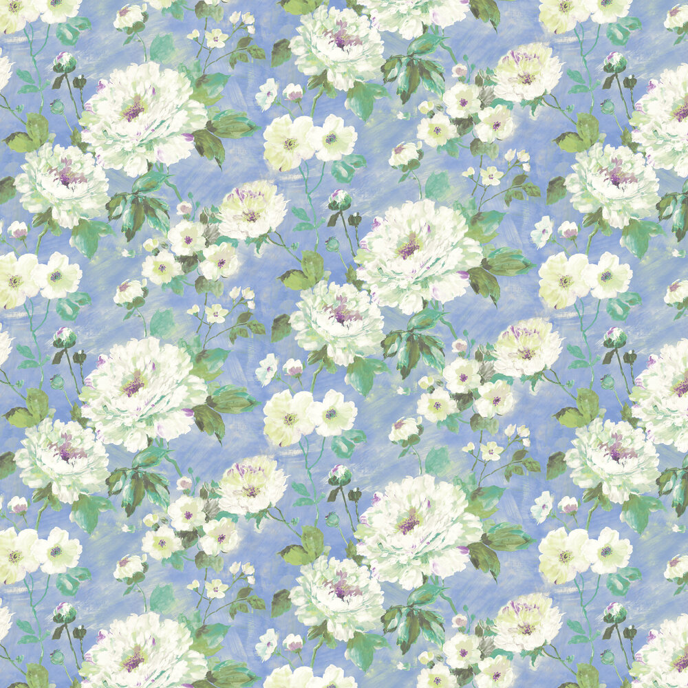 Fiore Bloom Wallpaper - Cornflower Blue - by Albany