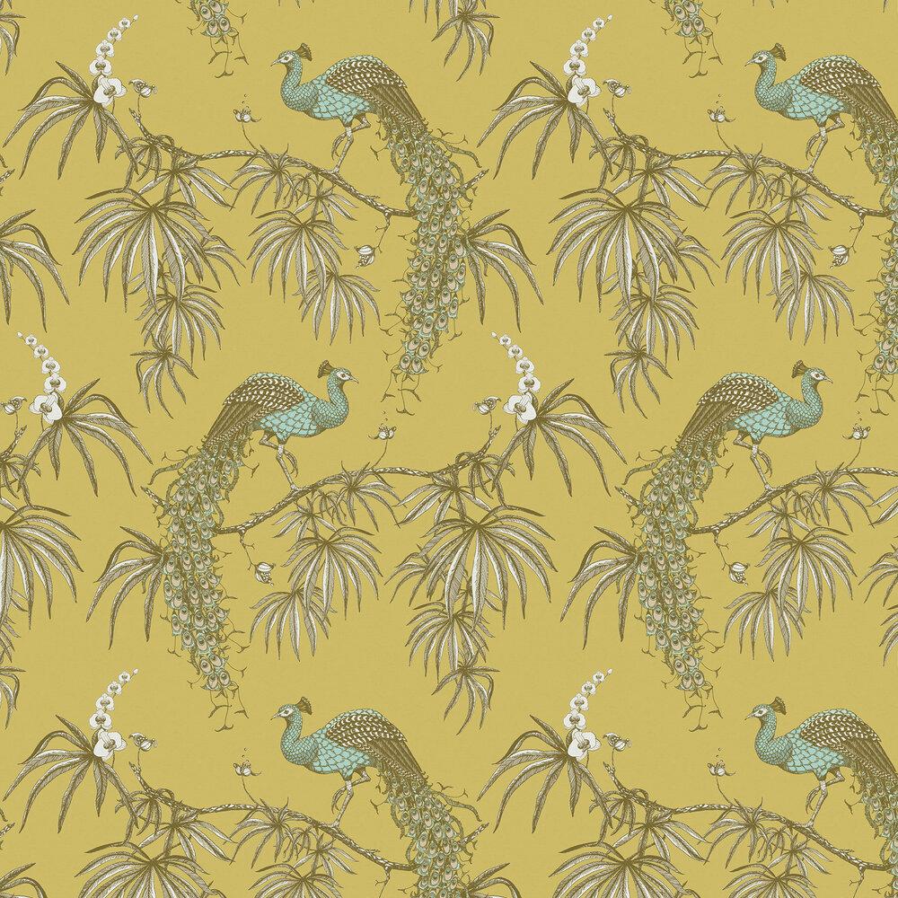 Carmen Wallpaper - Duck Egg / Yellow - by Fardis