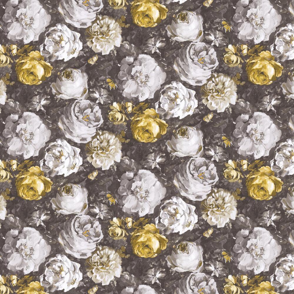 Floretta Wallpaper - Antique / Charcoal - by Clarke & Clarke