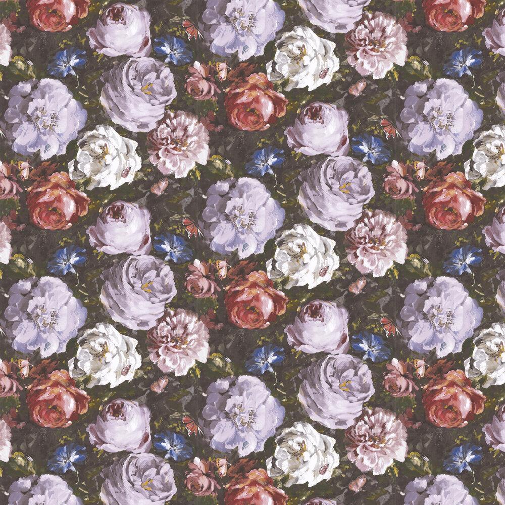 Floretta Wallpaper - Heather / Ebony - by Clarke & Clarke