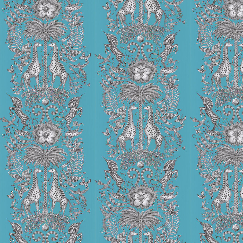 Emma J Shipley Kruger Teal Wallpaper - Product code: W0102/08