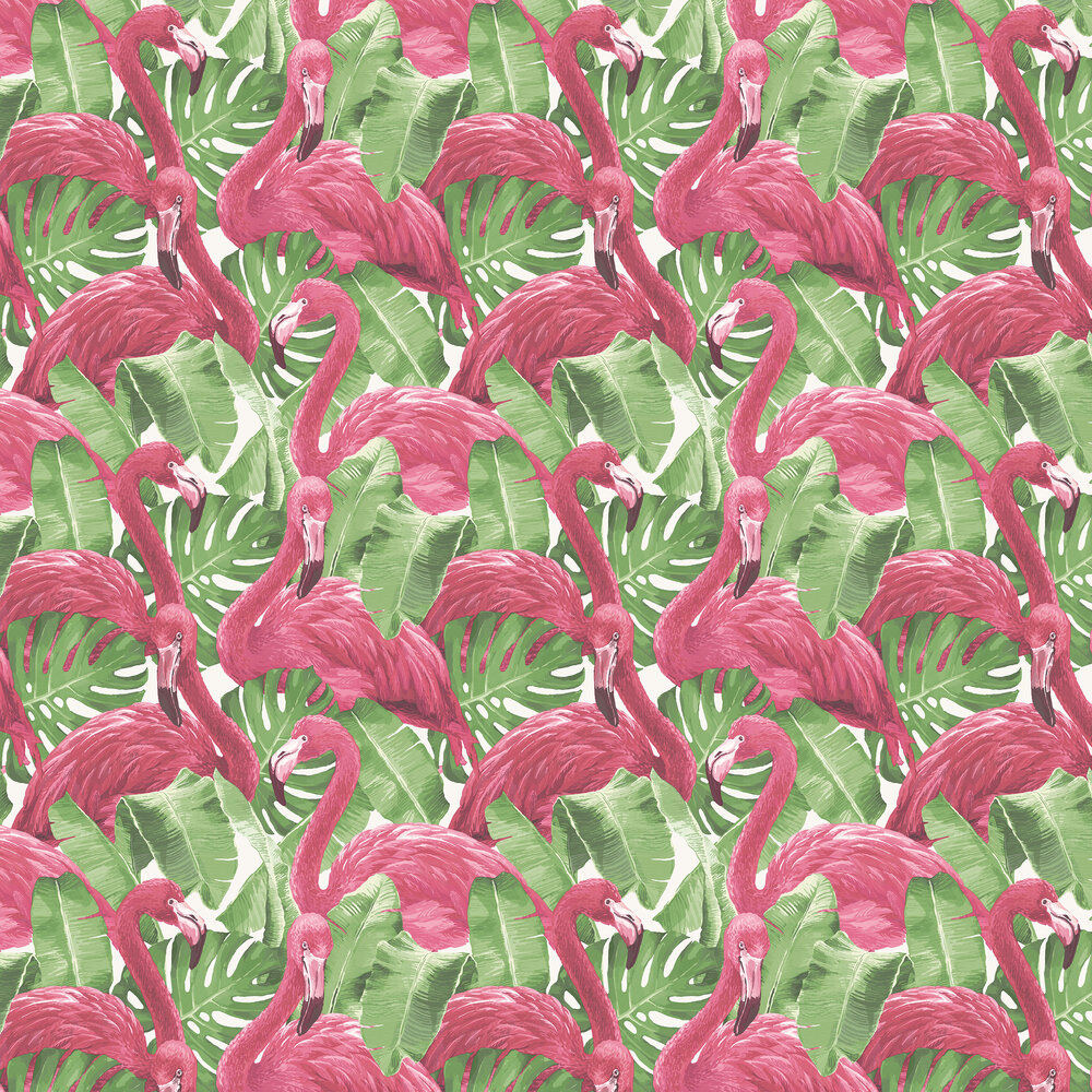 Flamingo Wallpaper - Pink / Green / White - by Galerie