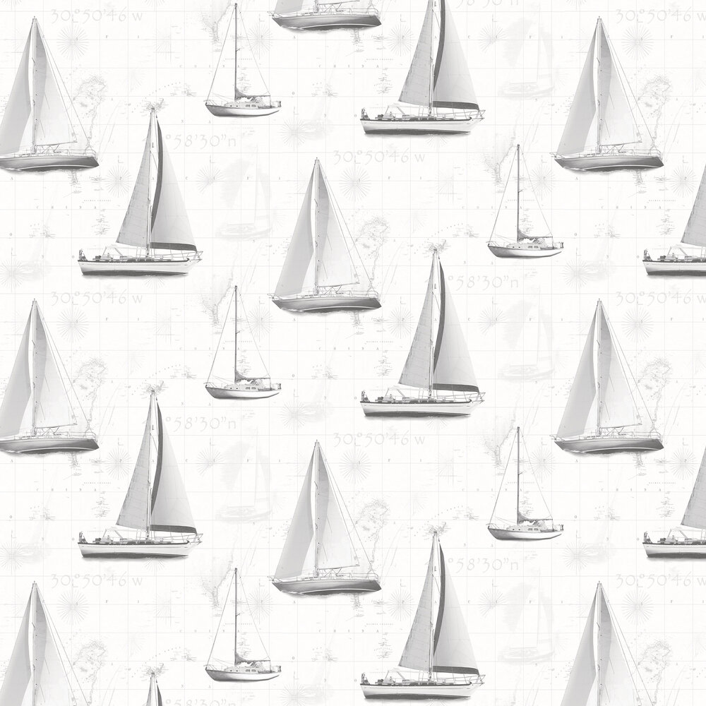 Boats Wallpaper - Black / Grey / Silver - by Galerie