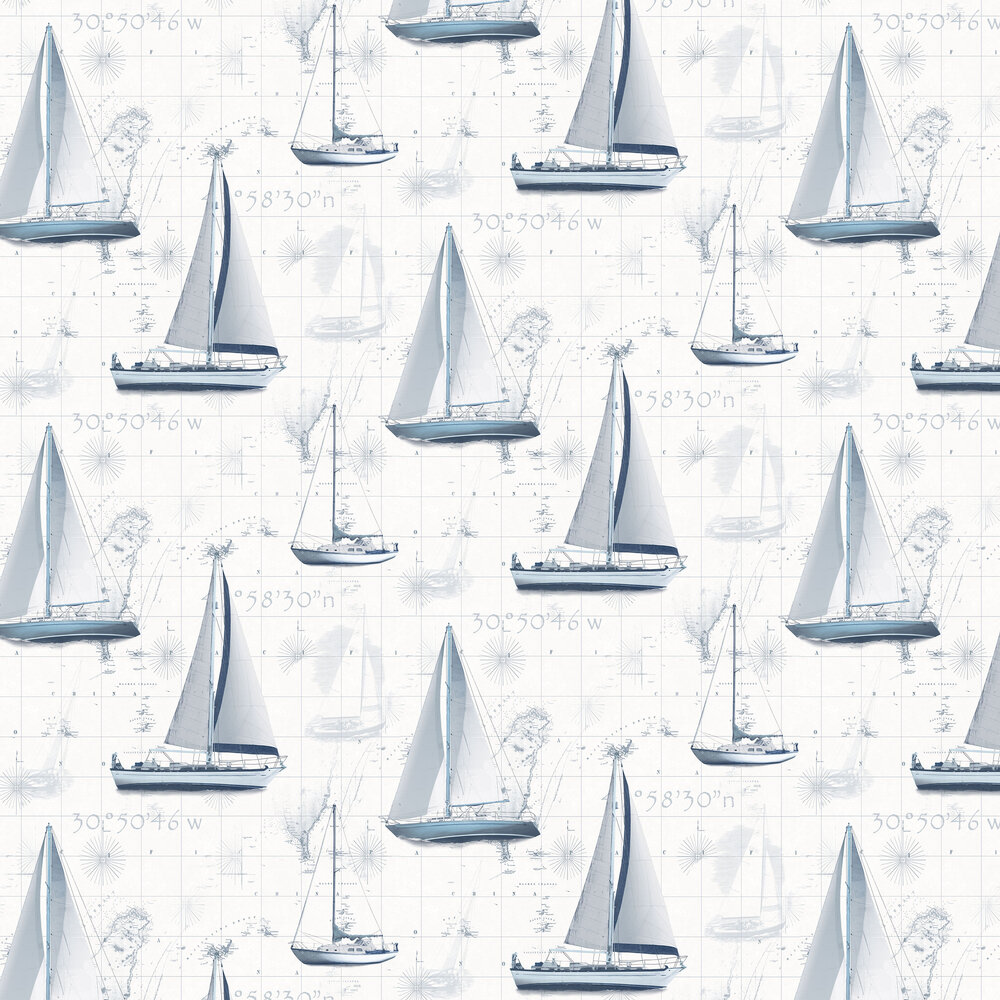 Boats Wallpaper - Blue - by Galerie